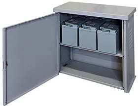 Battery enclosure with locking door and one shelf