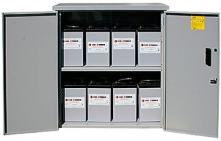 Battery enclosure with locking door and  2 shelves.