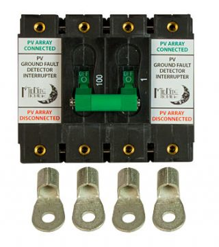 100A, 150VDC panel mount dual DC Ground fault protector.