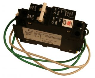 63A/50VDC DIN Rail mount DC ground fault protector.