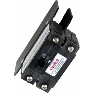 "50A 120/240VAC double pole panel mount breaker with 1/4"" stud terminals."