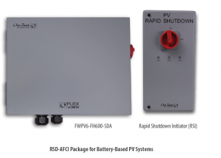 RSD-AFCI ICS Plus PV rapid shutdown for SkyBox. Pre-wired with two contactors and six 600Vdc fuse holders, to support three PV strings