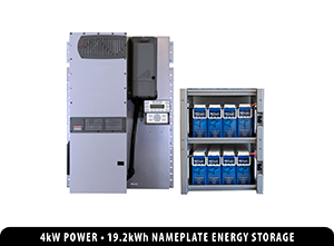 Bundled FPR-4048A-300AFCI 4.0 kW FLEXpower Radian with an IBR-2-48-175 battery rack and eight BLUE+ batteries providing 19.2 kWh of nameplate energy storage.