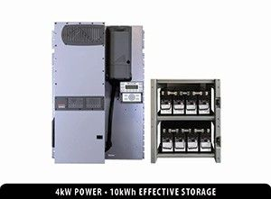 Bundled FPR-4048A-300AFCI 4.0 kW FLEXpower Radian with an IBR-2-48-175 battery rack and eight 200PLR batteries providing 19.2 kWh of nameplate energy storage.