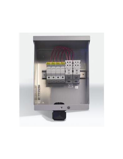 fwpv4-fh600 combiner box pre-wired with four 600vdc fuse holders, cable  gland and touch-safe distribution blocks  includes one ground bus bar  ( fuses sold