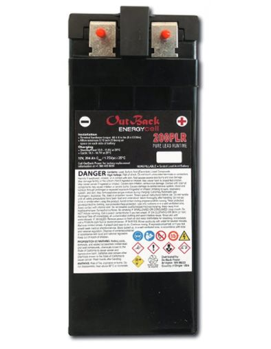 EnergyCell 200PLR VRLA-AGM Pure Lead 200Ah, 12V Front Terminal