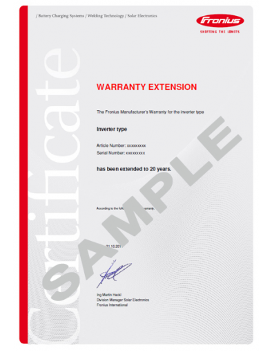 Primo and Symo Warranty Extension Plus of 10 Years (Total 20 Years) for 15.0-1, 15.0-3 and 17.5-3