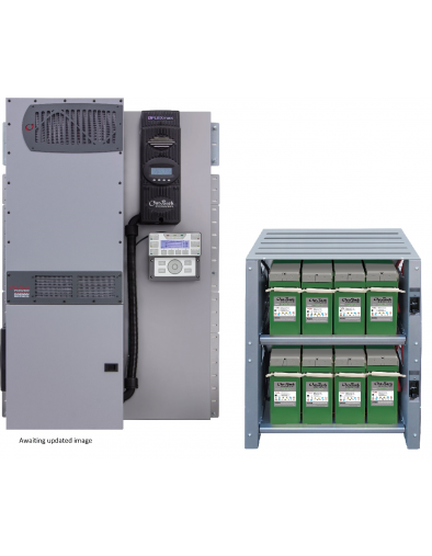 SE-420PLR-300 - Bundled FPR-4048A-300VDC 4.0 kW FLEXpower Radian with an IBR-2-48-175 battery rack and eight 200PLR batteries providing 19.2 kWh of nameplate energy storage