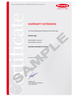 Primo Warranty Extension Plus of 10 Years (Total 20 Years) for 6.0-1, 7.6-1 and 8.2-1