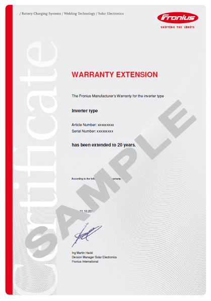 Galvo and Primo Warranty Extension of 10 Years (Total 20 Years) for 2 5-1,  3 1-1, 3 8-1 and 5 0-1
